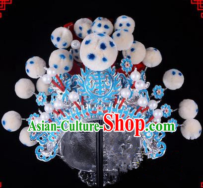 Traditional Chinese Ancient Peking Opera Accessories Martial Male Hat, Traditional Chinese Beijing Opera Wu Sheng Headwear Crown
