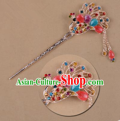 Top Grade Chinese Ancient Peking Opera Hair Accessories Diva Colours Crystal Peacock Hairpins Step Shake, Traditional Chinese Beijing Opera Hua Tan Hair Clasp Head-ornaments