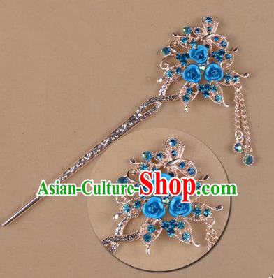 Top Grade Chinese Ancient Peking Opera Hair Accessories Diva Blue Crystal Flowers Hairpins Step Shake, Traditional Chinese Beijing Opera Hua Tan Hair Clasp Head-ornaments