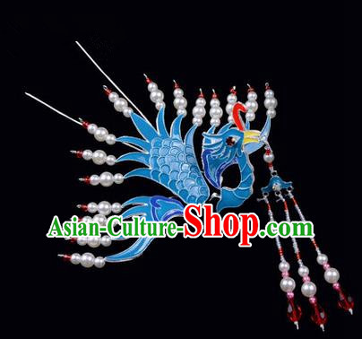 Top Grade Chinese Ancient Peking Opera Hair Accessories Diva Hairpins Phoenix Pearl Tassel Step Shake, Traditional Chinese Beijing Opera Hua Tan Hair Clasp Head-ornaments