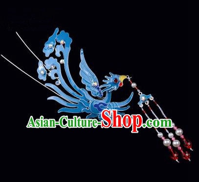 Top Grade Chinese Ancient Peking Opera Hair Accessories Diva Phoenix Hairpins Tassel Step Shake, Traditional Chinese Beijing Opera Hua Tan Hair Clasp Head-ornaments