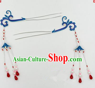Top Grade Chinese Ancient Peking Opera Hair Accessories Diva Pair Hairpins Step Shake, Traditional Chinese Beijing Opera Hua Tan Hair Clasp Head-ornaments
