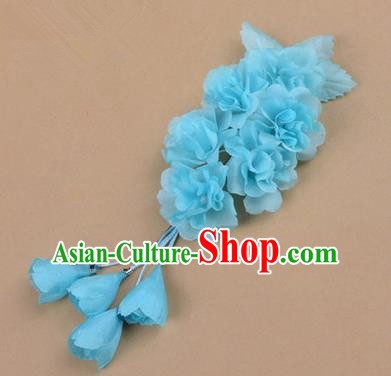 Top Grade Chinese Ancient Peking Opera Hair Accessories Diva Crystal Temple Blue Jasmine Flowers Hairpins, Traditional Chinese Beijing Opera Hua Tan Hair Clasp Head-ornaments
