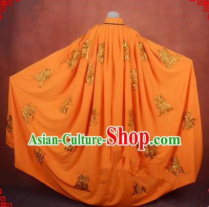 Traditional Chinese Beijing Opera Shaoxing Opera Young Lady Clothing Yellow Cloak, China Peking Opera Diva Role Hua Tan Costume Embroidered Longevity Mantle