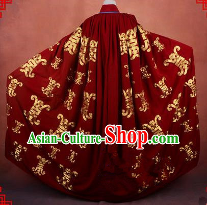 Traditional Chinese Beijing Opera Shaoxing Opera Young Lady Clothing Dark Red Cloak, China Peking Opera Diva Role Hua Tan Costume Embroidered Longevity Mantle