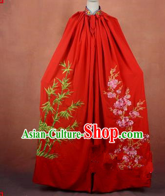 Traditional Chinese Beijing Opera Shaoxing Opera Young Lady Clothing Red Cloak, China Peking Opera Diva Role Hua Tan Costume Embroidered Plum Blossoms Orchid Bamboo and Chrysanthemum Mantle