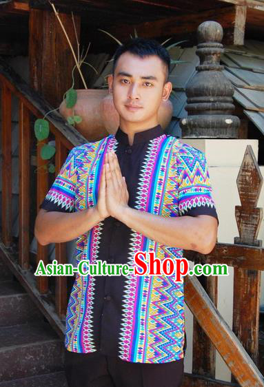 a8c2e99c9 Traditional Traditional Thailand Male Clothing, Southeast Asia Thai Ancient  Costumes Dai Nationality Blue Shirt for Men