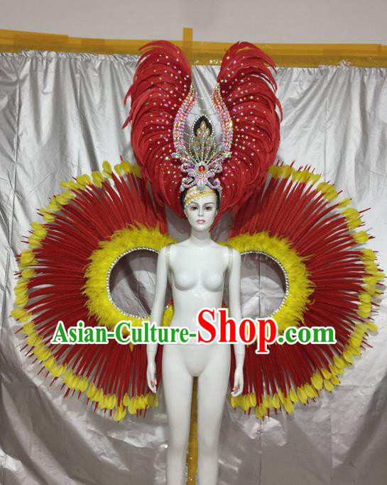 Top Grade Compere Professional Performance Catwalks Costume, Traditional Brazilian Samba Dance Rio Carnival Feather Props Modern Dance Fancywork Clothing for Women