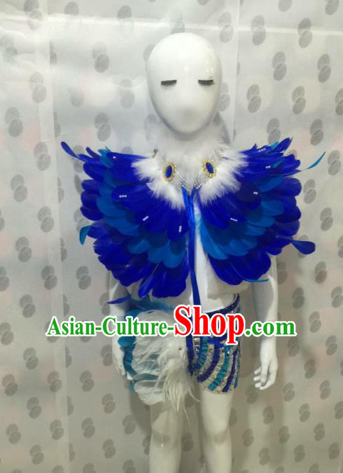 Top Grade Compere Professional Performance Catwalks Costume, Traditional Brazilian Rio Carnival Modern Dance Fancywork Blue Feather Swimsuit Clothing for Kids