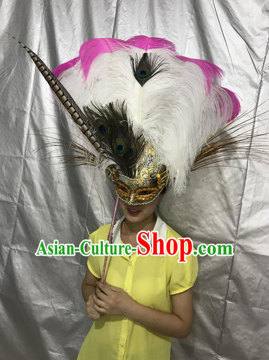Traditional Brazil Feather Headdress Stage Show Brazil Parade Giant Headpiece Big Hair Accessories Decorations Mask