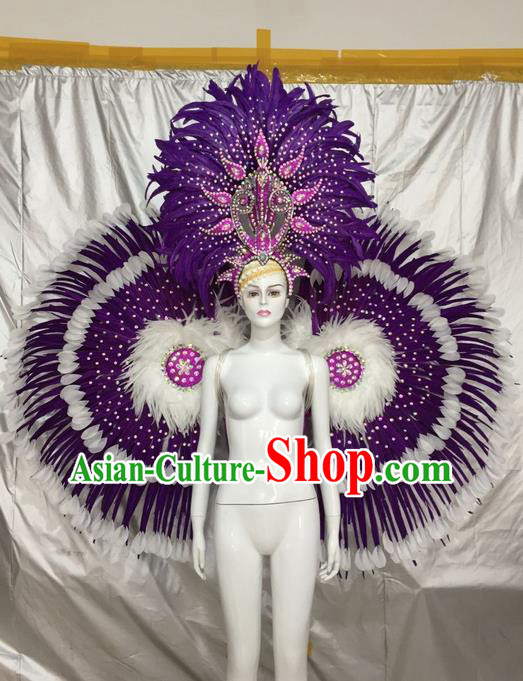 Top Grade Compere Professional Performance Catwalks Costumes Props and Headwear, Traditional Brazilian Rio Carnival Samba Opening Dance Ostrich Feather Wings Suit Fancywork Clothing for Women