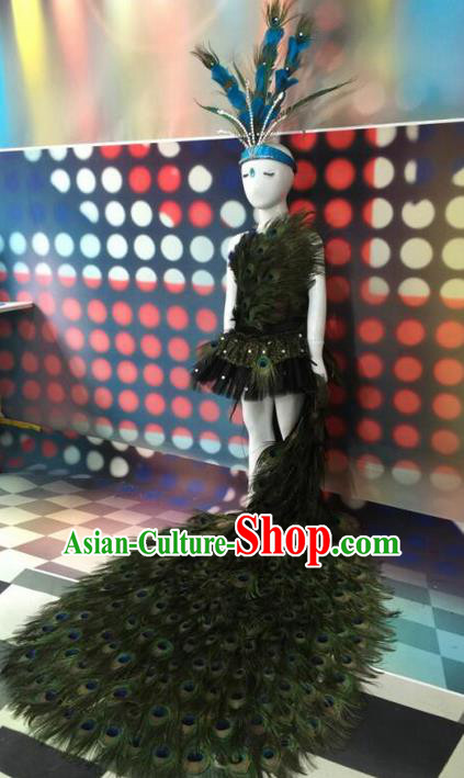Top Grade Compere Professional Performance Catwalks Costumes Peacock Dress, Traditional Brazilian Rio Carnival Samba Dance Feather Dress Fancywork Swimsuit Bikini Clothing for Kids
