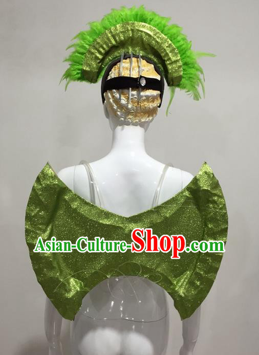 Top Grade Compere Professional Performance Catwalks Props, Traditional Brazilian Rio Carnival Samba Opening Dance Green Backboard for Women