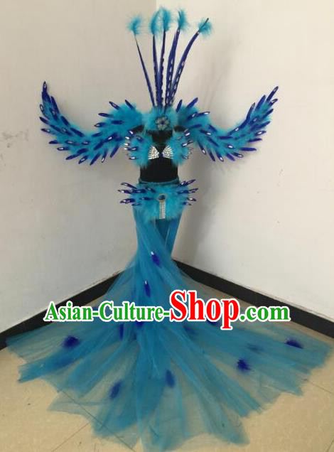 Top Grade Compere Professional Performance Catwalks Blue Feather Wings Costumes, Traditional Brazilian Rio Carnival Samba Opening Dance Props Modern Fancywork Swimsuit Clothing for Women
