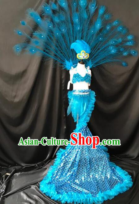 Top Grade Compere Professional Performance Catwalks Blue Peacock Feather Costumes, Traditional Brazilian Rio Carnival Samba Opening Dance Props Modern Fancywork Swimsuit Clothing for Kids