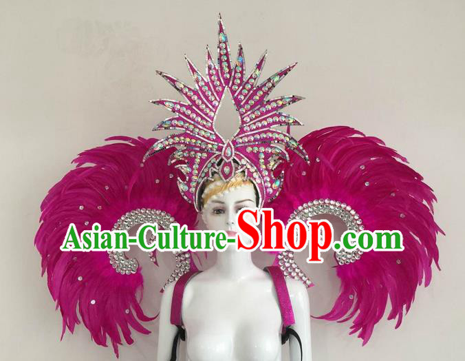 Top Grade Compere Professional Performance Catwalks Rosy Feather Wings and Headpiece, Traditional Brazilian Rio Carnival Samba Opening Dance Suits Modern Fancywork Swimsuit Clothing for Women
