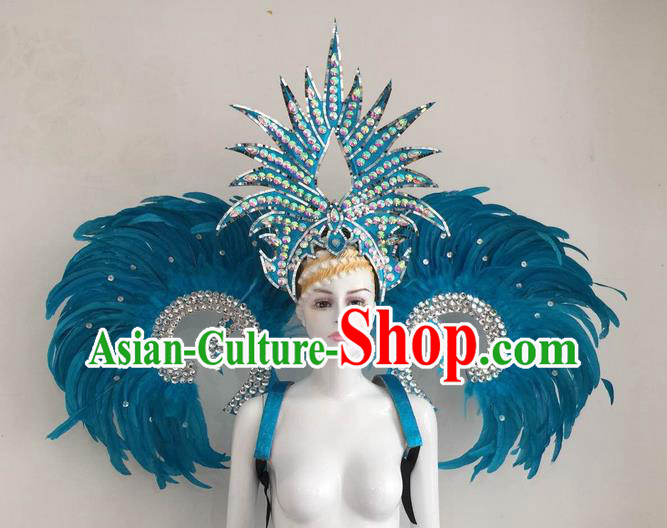 Top Grade Compere Professional Performance Catwalks Blue Feather Wings and Headpiece, Traditional Brazilian Rio Carnival Samba Opening Dance Suits Modern Fancywork Swimsuit Clothing for Women