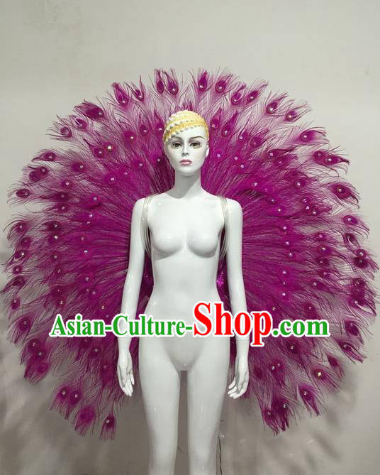 Top Grade Compere Professional Performance Catwalks Purple Feather Accessories Decorations, Traditional Brazilian Rio Carnival Samba Opening Dance Suits Modern Fancywork Swimsuit Clothing for Women