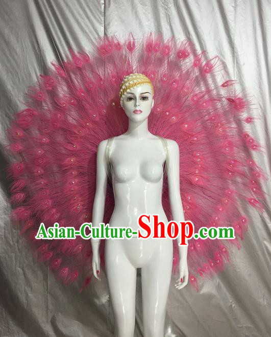 Top Grade Compere Professional Performance Catwalks Pink Feather Accessories Decorations, Traditional Brazilian Rio Carnival Samba Opening Dance Suits Modern Fancywork Swimsuit Clothing for Women