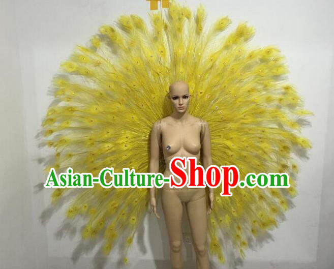 Top Grade Compere Professional Performance Catwalks Large Size Yellow Feather Accessories Decorations, Traditional Brazilian Rio Carnival Samba Opening Dance Suits Modern Fancywork Swimsuit Clothing for Women