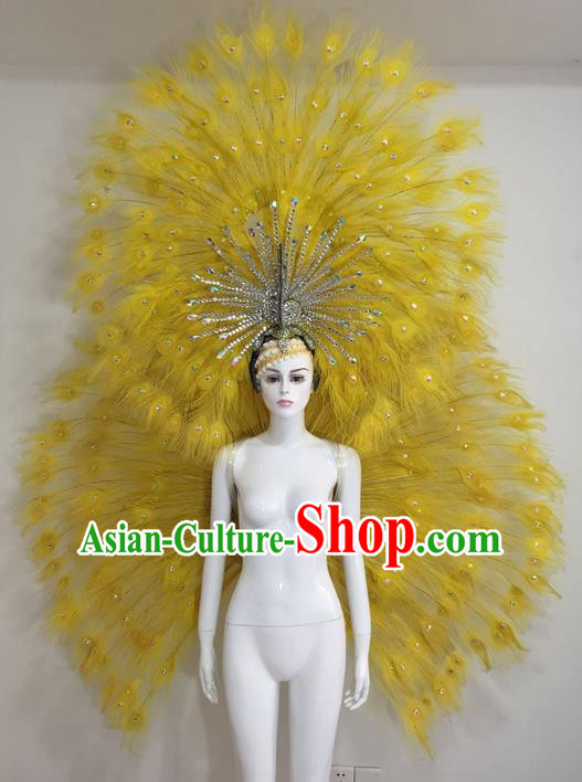 Top Grade Compere Professional Performance Catwalks Yellow Feather Wings Costume and Headpiece, Traditional Brazilian Rio Carnival Samba Opening Dance Suits Clothing for Women