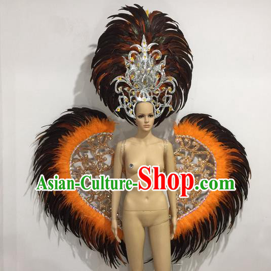 Top Grade Professional Performance Catwalks Orange Feather Wings and Headwear, Brazilian Rio Carnival Samba Opening Dance Custom-made Customized Clothing for Women