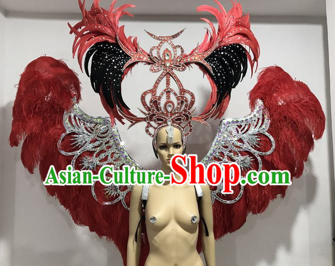 Top Grade Professional Performance Catwalks Large Size Red Feather Wings and Headwear, Brazilian Rio Carnival Samba Opening Dance Custom-made Customized Props Clothing for Women