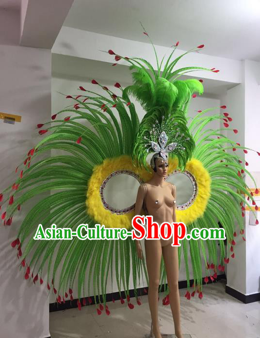 Top Grade Professional Performance Catwalks Feather Dance Costume, Stage Show Brazil Parade Giant Wings and Big Hair Accessories Decorations for Women