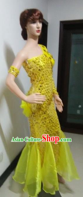 Top Grade Professional Performance Catwalks Costumes, Stage Show Brazil Carnival Samba Dance Yellow Clothing for Women