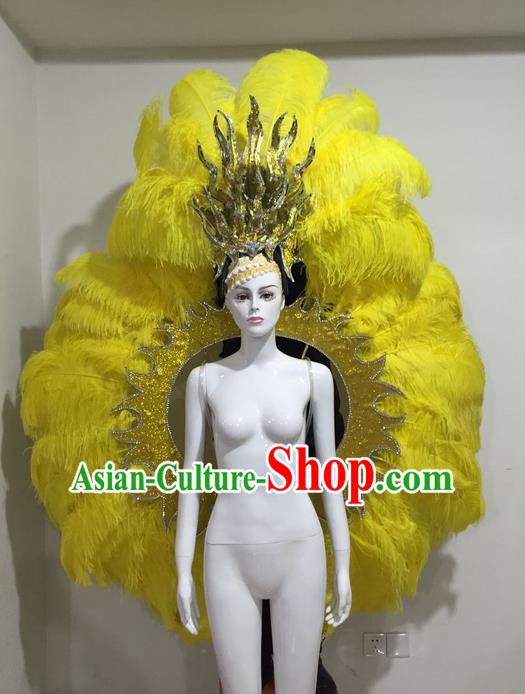 Top Grade Compere Professional Performance Catwalks Yellow Feather Wings and Headpiece Hair Accessories Decorations, Traditional Brazilian Rio Carnival Samba Opening Dance Suits Modern Fancywork Clothing for Women