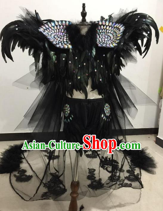 Top Grade Professional Performance Catwalks Swimsuit Black Feather Costume and Headpiece, Children Modern Dance Modern Fancywork Long Trailing Clothing for Kids
