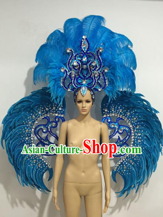 Top Grade Professional Stage Show Catwalks Blue Feather Wings and Headwear, Brazilian Rio Carnival Samba Opening Dance Custom-made Customized Clothing for Women