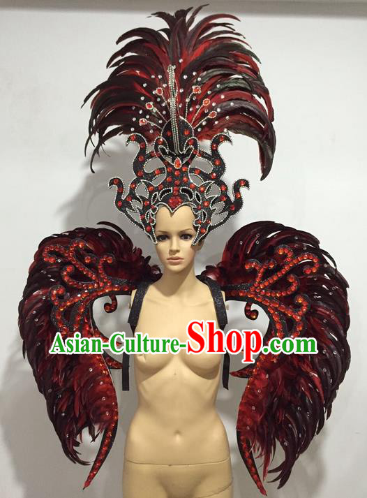 Top Grade Professional Stage Show Catwalks Red Feather Wings and Headwear, Brazilian Rio Carnival Samba Opening Dance Custom-made Customized Clothing for Women