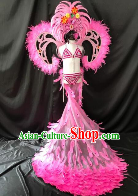 Top Grade Professional Stage Show Catwalks Halloween Dance Pink Feather Bikini Costumes and Headpiece, Brazilian Rio Carnival Samba Opening Dance Modern Fancywork Long Trailing Dress Clothing for Kids