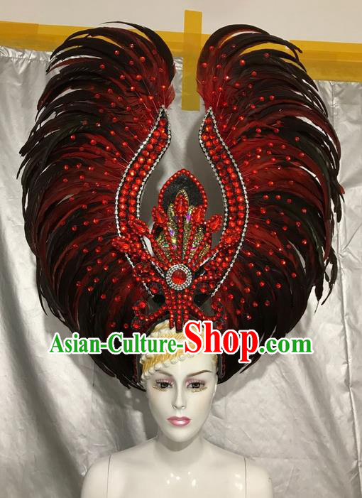 Top Grade Professional Stage Show Catwalks Brazil Halloween Red Feather Deluxe Headpiece, Brazilian Rio Carnival Samba Opening Dance Modern Fancywork Big Feather Headwear for Women