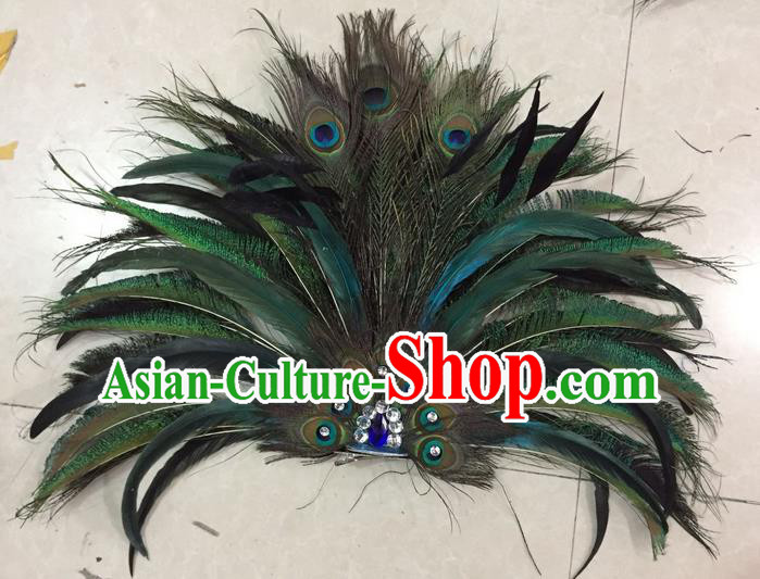 Top Grade Stage Show Catwalks Crafts, Brazilian Rio Carnival Samba Opening Dance Modern Fancywork Peacock Feather Fans