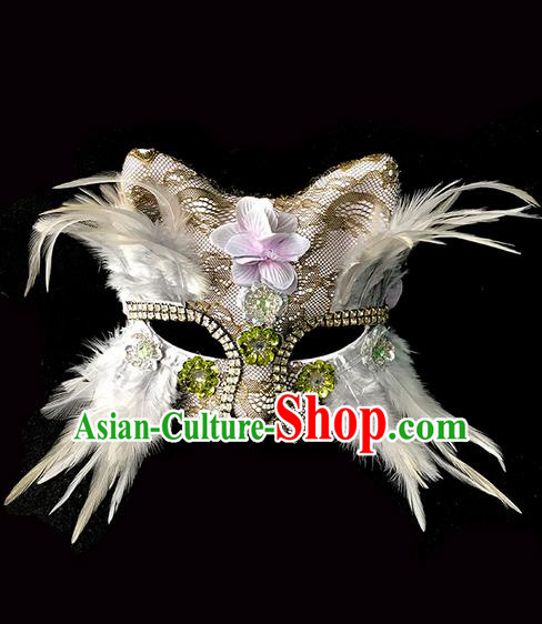 Top Grade Chinese Theatrical Luxury Headdress Ornamental White Cat Mask, Halloween Fancy Ball Ceremonial Occasions Handmade Feather Face Mask for Men
