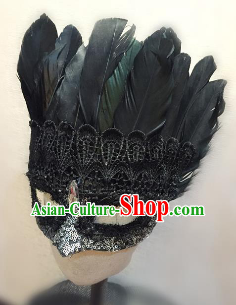 Top Grade Chinese Theatrical Luxury Headdress Ornamental Black Feather Mask, Halloween Fancy Ball Ceremonial Occasions Handmade Lace Face Mask for Men