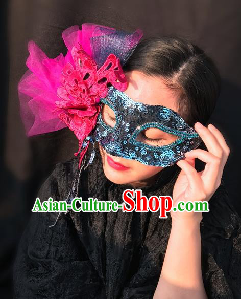 Top Grade Chinese Theatrical Luxury Headdress Ornamental Rosy Lace Mask, Halloween Fancy Ball Ceremonial Occasions Handmade Face Mask for Women