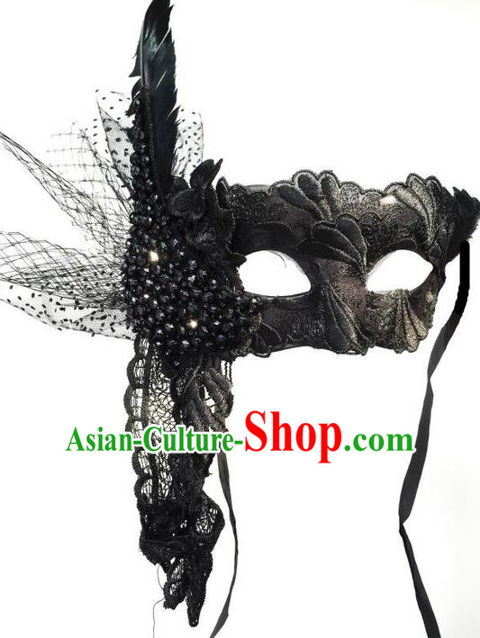 Top Grade Chinese Theatrical Luxury Headdress Ornamental Black Lace Mask, Halloween Fancy Ball Ceremonial Occasions Handmade Feather Mask Hair Accessories for Women