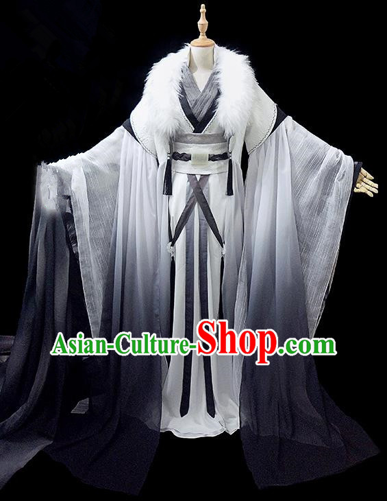 Traditional Ancient Chinese Young Men Costume, Chinese Han Dynasty Royal Highness Embroidered Robes Clothing for Men