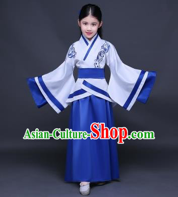 Traditional Ancient Chinese Imperial Princess Fairy Embroidery Costume, Children Elegant Hanfu Clothing Han Dynasty Royalblue Curve Bottom Dress Clothing for Kids