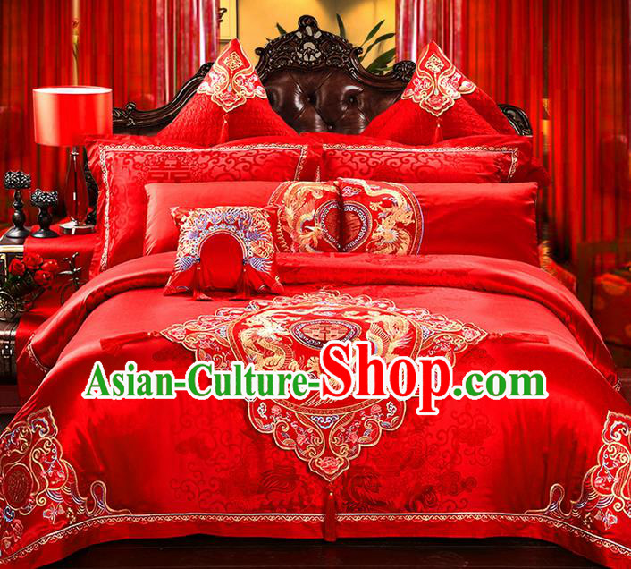 Traditional Asian Chinese Style Wedding Article Peking Opera Bedding Sheet Complete Set, Embroidery Dragon and Phoenix Red Eleven-piece Duvet Cover Satin Drill Textile Bedding Suit