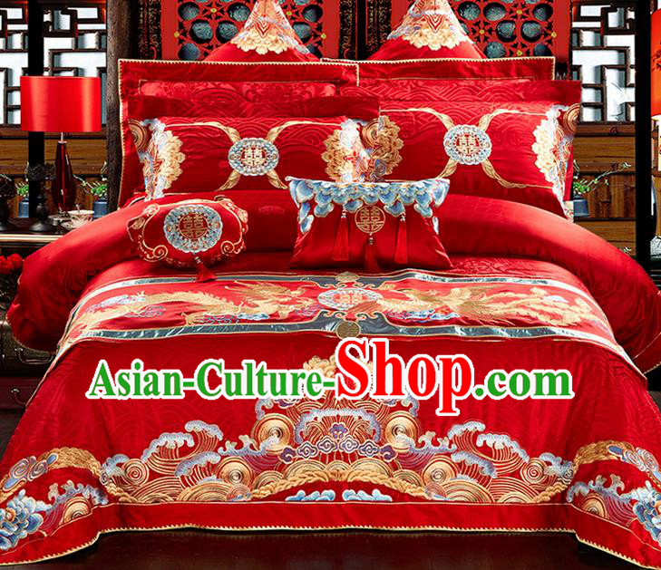 Traditional Asian Chinese Style Wedding Article Bedding Peking Opera Sheet Complete Set, Embroidery Dragon and Phoenix Twelve-piece Duvet Cover Satin Drill Textile Bedding Suit