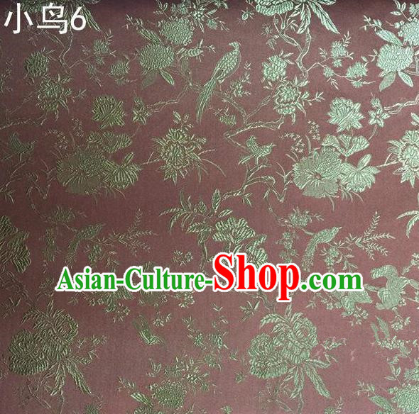 Asian Chinese Traditional Embroidery Golden Magpie Peony Satin Pink Silk Fabric, Top Grade Brocade Tang Suit Hanfu Full Dress Fabric Cheongsam Cloth Material