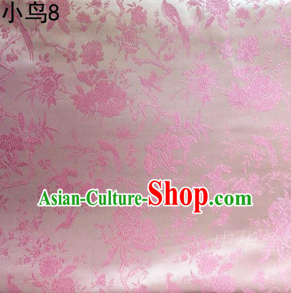 Asian Chinese Traditional Embroidery Magpie Peony Satin Pink Silk Fabric, Top Grade Brocade Tang Suit Hanfu Full Dress Fabric Cheongsam Cloth Material