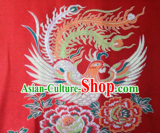 Asian Chinese Traditional Embroidery Phoenix Peony Red Satin Wedding Silk Fabric, Top Grade Brocade Tang Suit Hanfu Full Dress Fabric Cheongsam Cloth Material