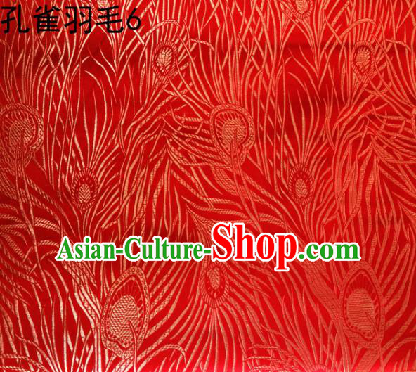 Asian Chinese Traditional Embroidery Golden Peacock Feathers Red Satin Wedding Silk Fabric, Top Grade Brocade Tang Suit Hanfu Dress Fabric Cheongsam Cloth Material