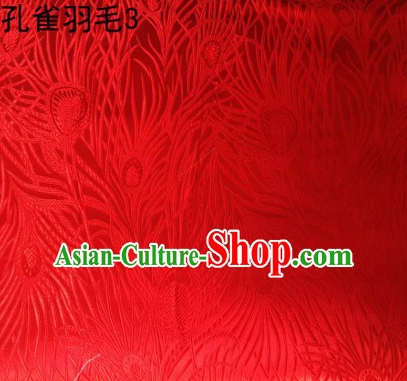 Asian Chinese Traditional Embroidery Peacock Feathers Red Satin Wedding Silk Fabric, Top Grade Brocade Tang Suit Hanfu Dress Fabric Cheongsam Cloth Material