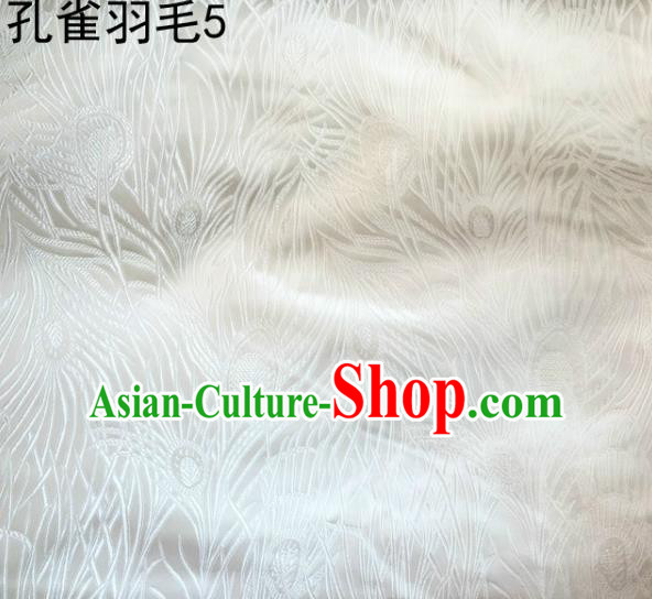 Asian Chinese Traditional Embroidery Peacock Feathers White Satin Wedding Silk Fabric, Top Grade Brocade Tang Suit Hanfu Dress Fabric Cheongsam Cloth Material